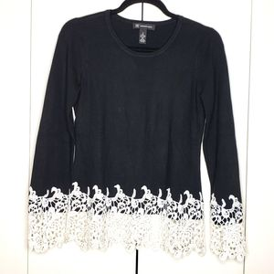 INC International Concepts Lace Trimmed Sweater